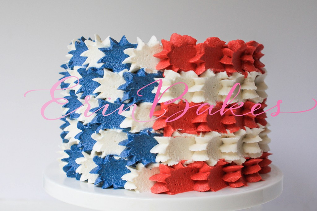 Buttercream Stars and Stripes 4th of July Cake | Erin Gardner
