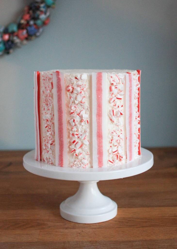 Candy Cane Buttercream Stripe Cake | Erin Gardner