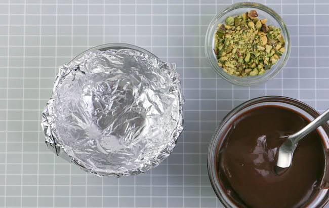 Line the small bowl with foil. | Erin Gardner | Erin Bakes