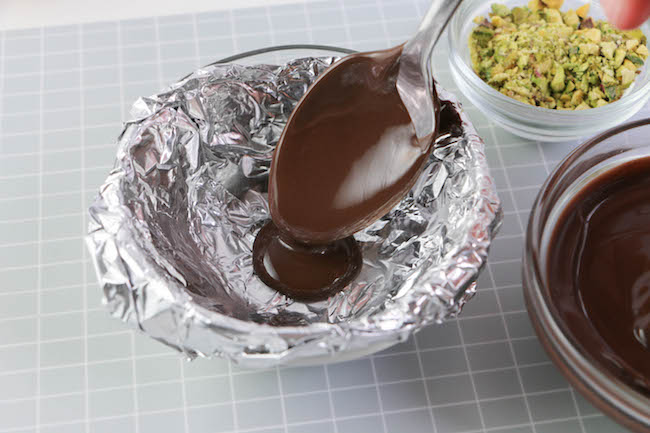 Pouring a small puddle of chocolate. | Erin Gardner | Erin Bakes