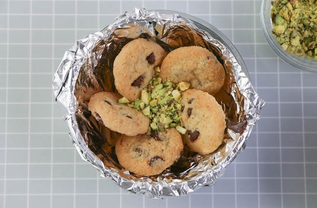 Adding chopped pistachios to the center. | Erin Gardner | Erin Bakes