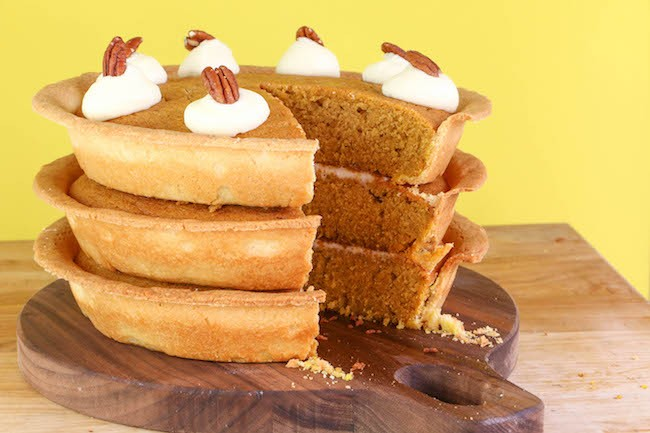 Pumpkin Pie Layer Cake filled with Cream Cheese Frosting | Erin Gardner | ErinBakes.com