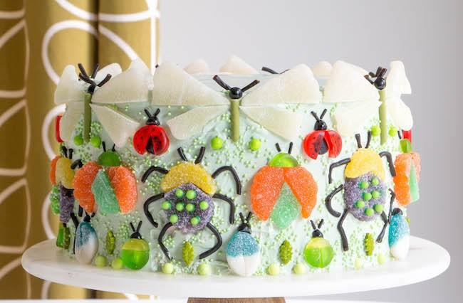 Bugs Made Out of Gummy Candy on a Layer Cake | Erin Gardner | Erin Bakes