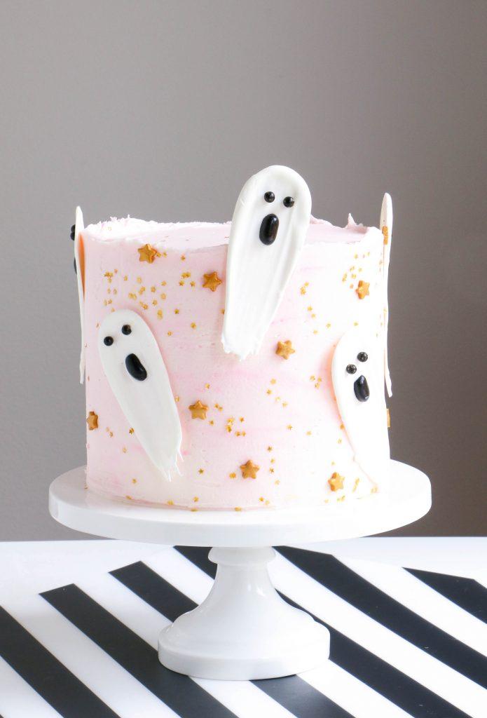 Brush Stroke Ghost Halloween Cake by Erin Bakes
