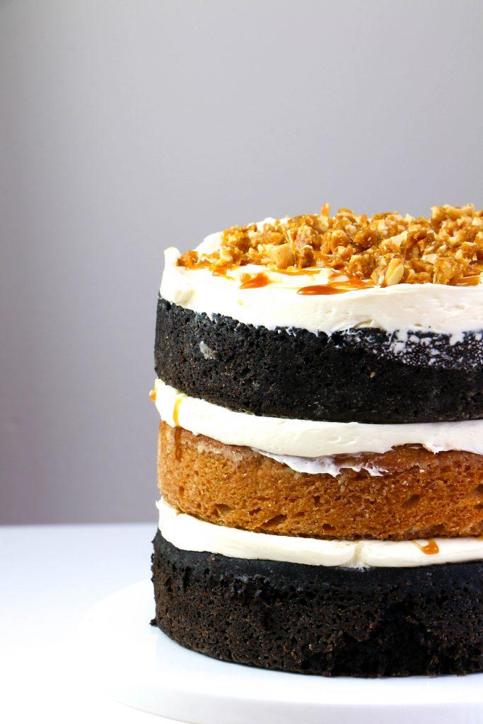 Layers of Peanut Butter Cake and Black Velvet Cake