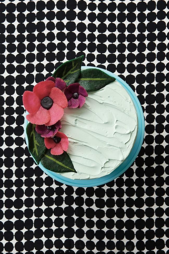 Cake Topped with Tuile Cookie Flowers | Erin Gardner | Erin Bakes
