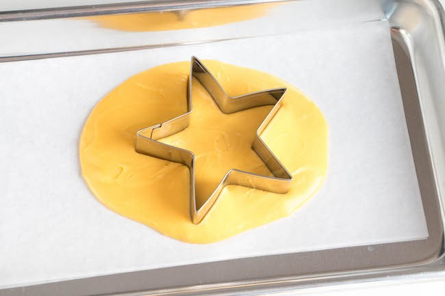 Puddle of Yellow Chocolate with a Star Cookie Cutter | Erin Bakes